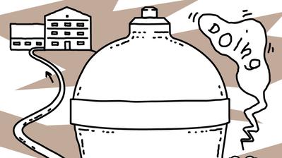 Die bis heute gebräuchliche hydraulische Druckstoss-Pumpe, «Widder» genannt, pumpt Wasser an einen höher gelegenen Standort. (Illustration: Lea Siegwart)