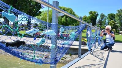 Ein Blickfang und beliebtes Fotosujet auf dem Arboner Strickweg: Fische zappen beim Schlosshafen im Netz. (Bild: Max Eichenberger)