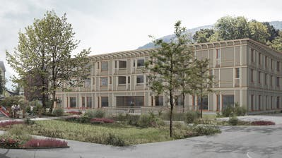 Die Casa Sevellun wird ein dreigeschossiges Gebäude in Massivbauweise mit holzverkleideter Fassade. (Visualisierung: PD)