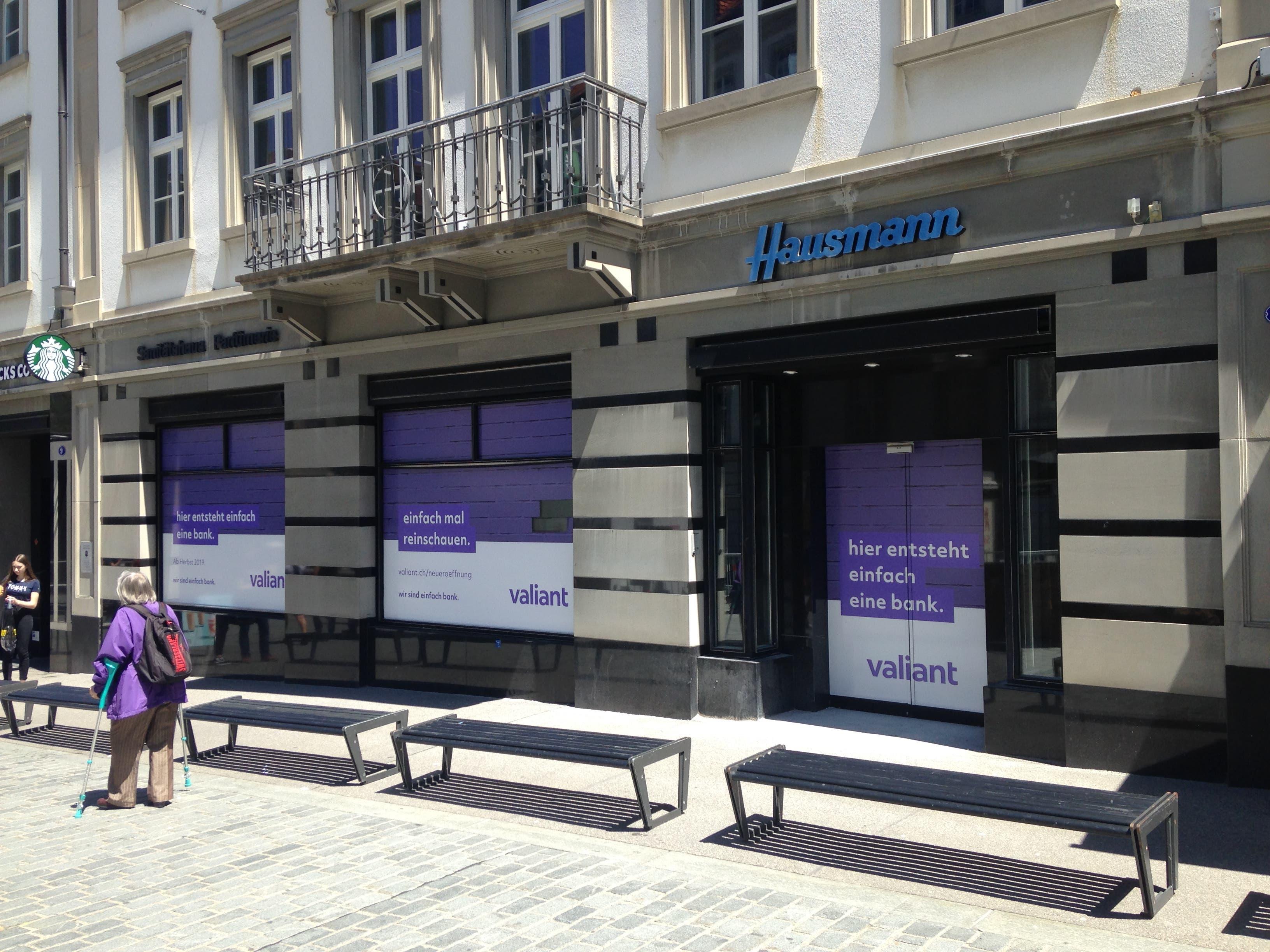 Der ehemalige Standort der Hecht-Apotheke: Hier entsteht die neue Filiale der Bank-Valiant. (Bild: Reto Voneschen - 1. Juni 2019)
