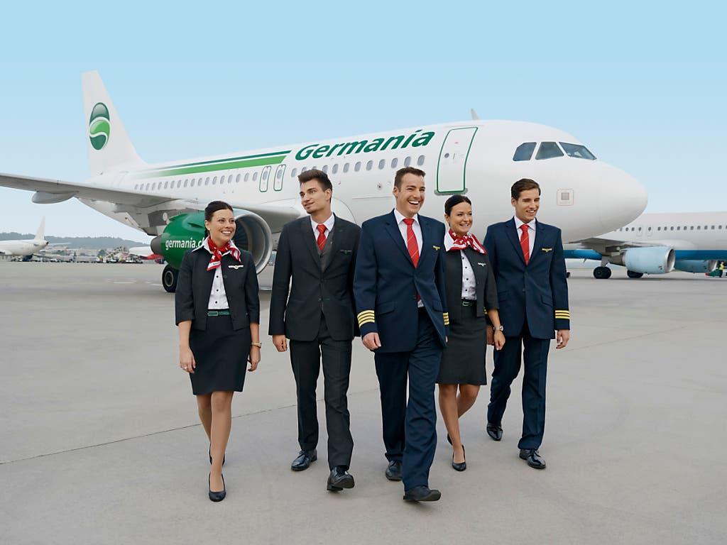 Die Fluggesellschaft Germania war vor ihrer Insolvenz auch in der Schweiz freudig an den Start gegangen. (Bild: KEYSTONE/PPR/GERMANIA FLUG AG / GERRY EBNER)