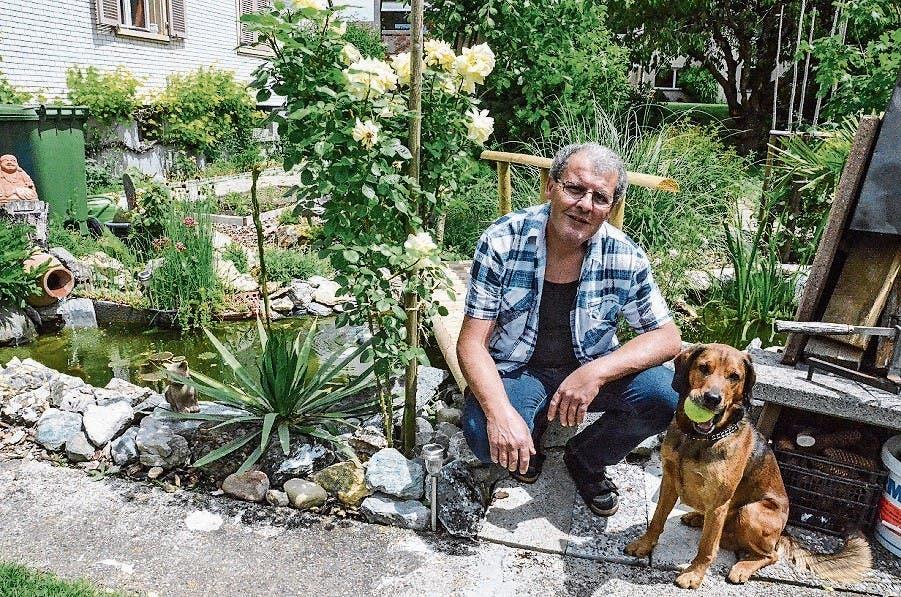 Im selbst gebauten Weiher von Massimo Rizzo schwimmen über 60 Goldfische. Aber Hündin Yoi hat lieber Tennisbälle.