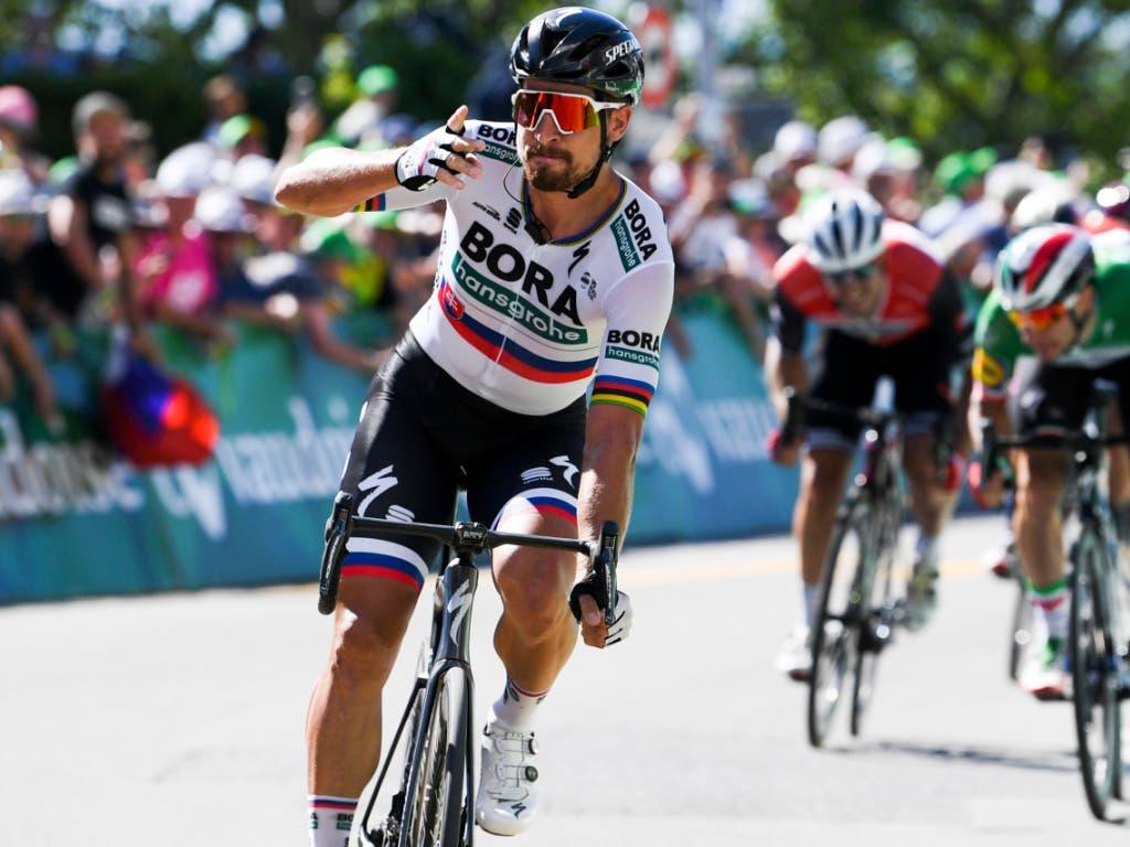 Rekord mit Sprintsieg ausgebaut: Peter Sagan feierte in Murten seinen 17. Etappenerfolg im Rahmen der Tour de Suisse (Bild: KEYSTONE/GIAN EHRENZELLER)
