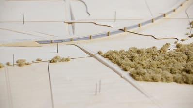 Der Kanton Thurgau sieht neuerdings den Bau eines Viadukts westlich von Weinfelden vor, um die Bodensee-Thurtal-Strasse realisieren zu können. Ein Modell zeigt, wie es dereinst aussehen könnte. (Bild: Donato Caspari)