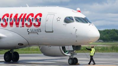 Ein Swiss-Flugzeug im kanadischen Quebec. (Graham Hughes/The Canadian Press/AP)