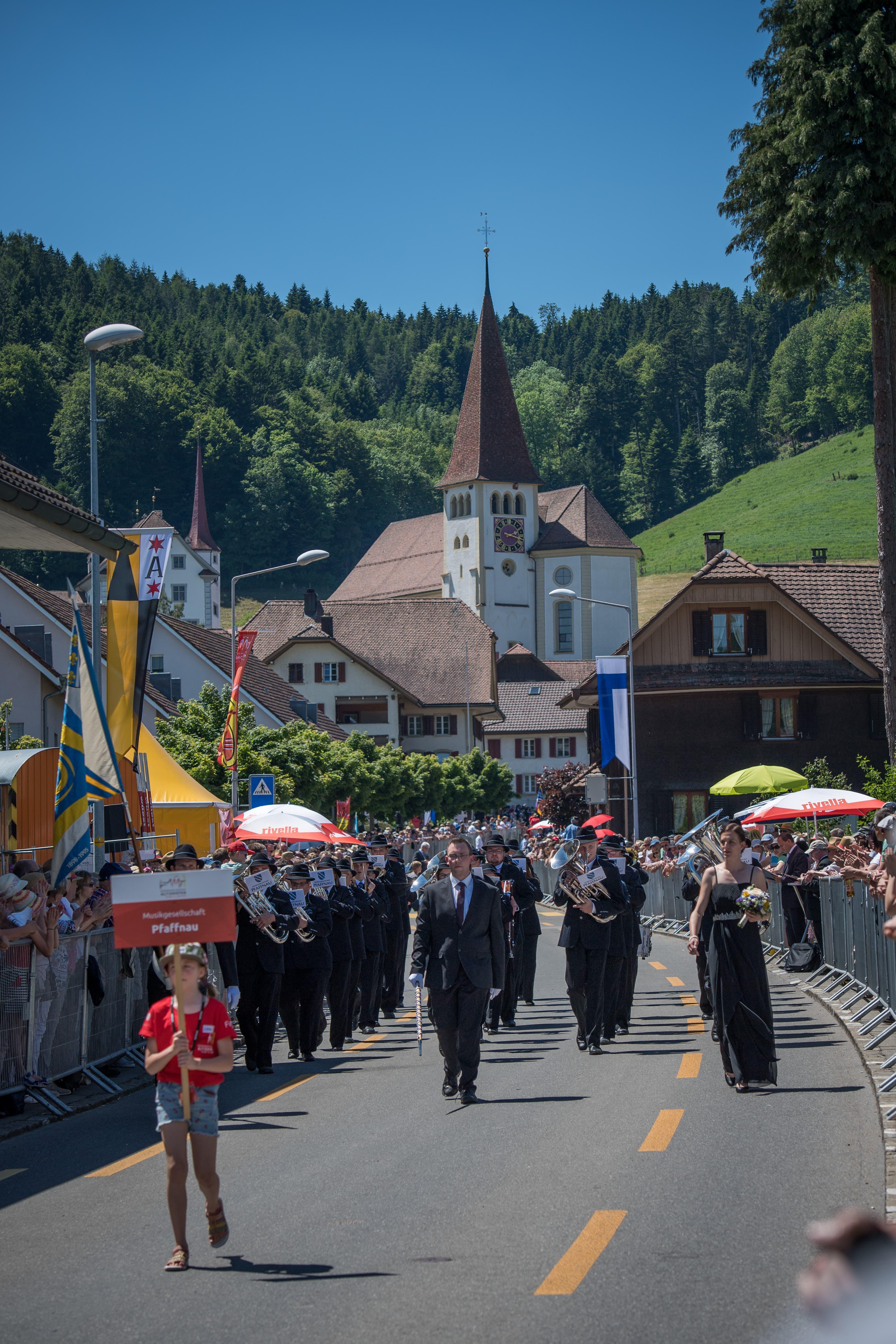 Die MG Pfaffnau am Kantonal-Musiktag. (Bild: Roger Grütter, Altishofen, 2. Juni 2019)