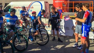 Daniel Markwalder,Franco Marvulli und Stefan Küng vor dem Start. (Bild: Raphael Rohner)
