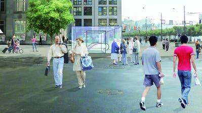 So könnte der Zugang zur Metro auf dem Schwanenplatz aussehen. (Visualisierung: IG Metro Luzern)