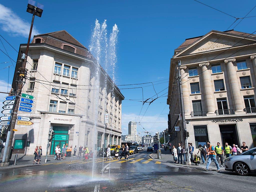 Während der Gartenschau Jardins 2019 hat auch die Stadt Lausanne ihren Springbrunnen. (Bild: KEYSTONE/LAURENT GILLIERON)