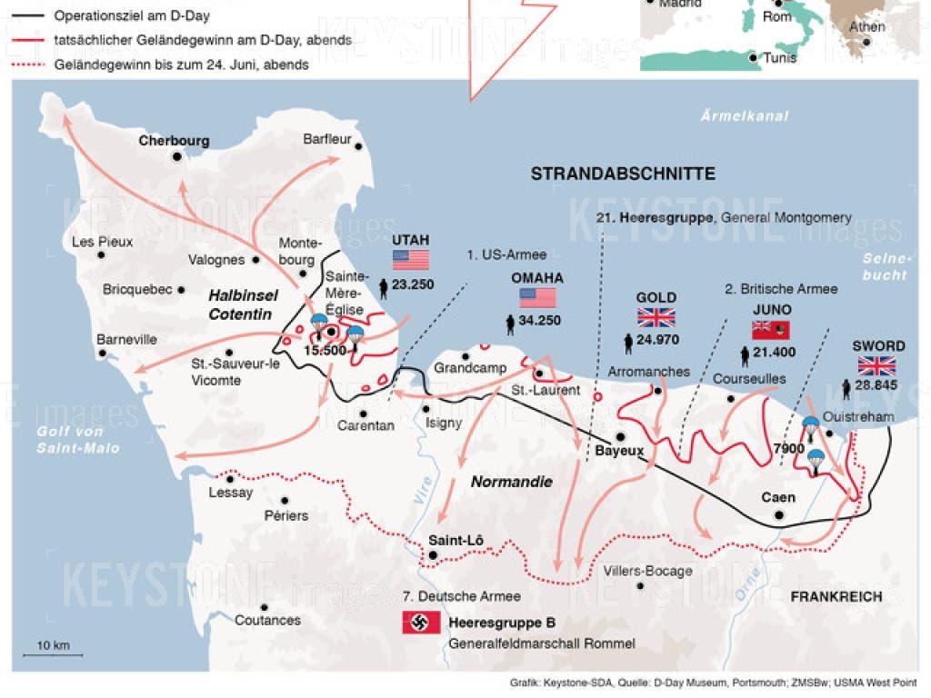 Die Karte zeigt die Landung und den Vormarsch der Alliierten in der Normandie im Juni 1944. (Bild: KEYSTONE/GERHARD RIEZLER)