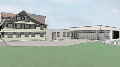 So sieht das Vorprojekt des Umbaus der «Krone» Mosnang aus. Der neue Saal (rechts) wird direkt mit dem Restaurant verbunden. (Visualisierung: PD)