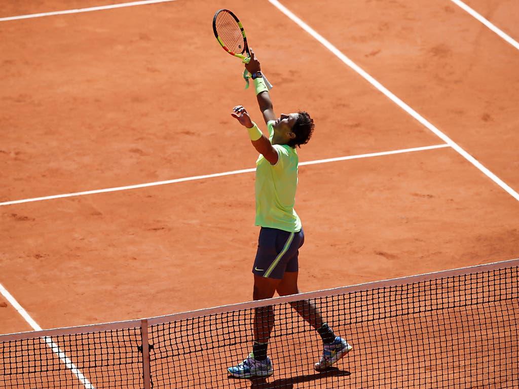 Nadal könnte am Sonntag seinen 12. Titel in Paris erringen (Bild: KEYSTONE/AP/CHRISTOPHE ENA)