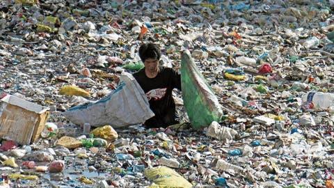 Ein Mann auf den Philippinen sammelt Plastikflaschen in einem durch einen Zaun geschützten Teil eines Flusses ein. Durch den Schutzzaun soll verhindert werden, dass Plastikabfall ins offene Meer gelangt. (Bild: Adolfo Espinosa/Keystone, Cebu City, 7. Juni 2019)