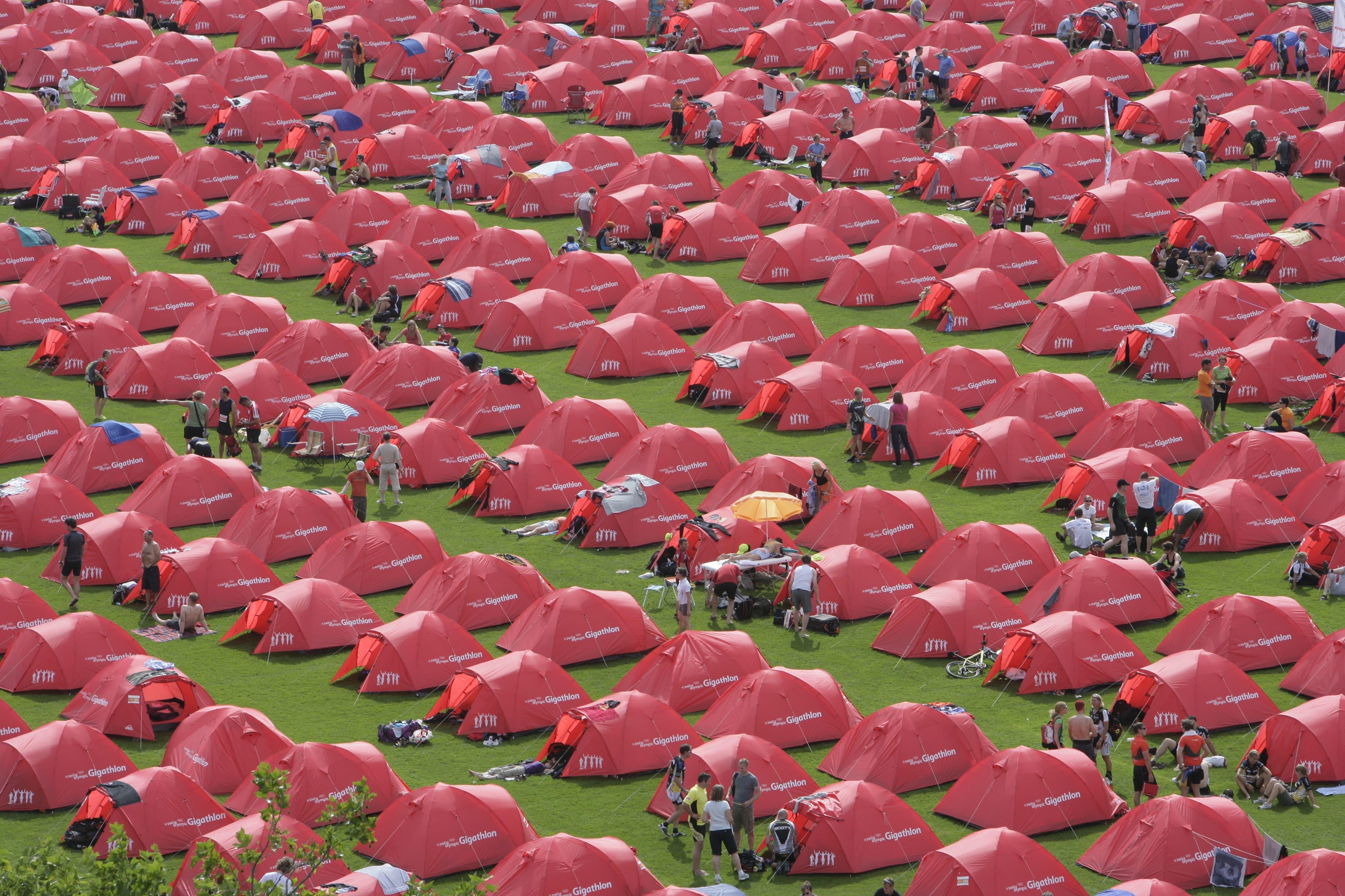 Vom 3. bis 5. Juli 2009 beherbergten rund 2400 Zelte die Teilnehmerinnen und Teilnehmer des ersten Gigathlons in St.Gallen. Vom 3. bis 5. Juli 2020 kehrt der Grossanlass samt Zeltstadt wieder hierher zurück.