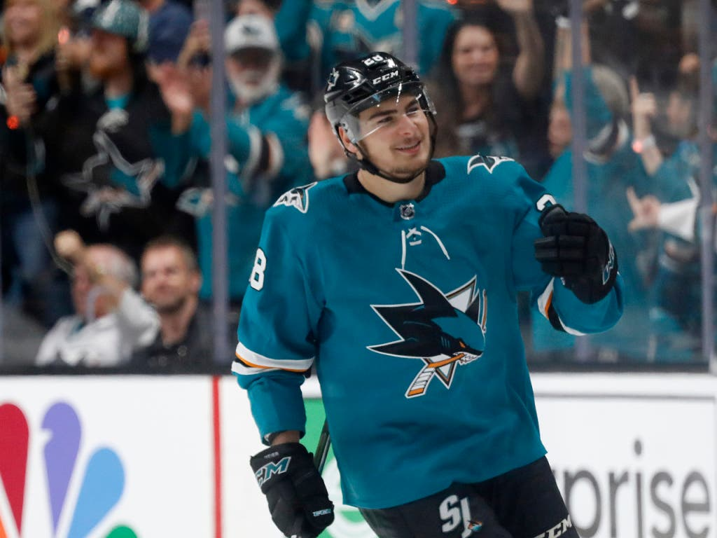 35 Saisontore erzielte Timo Meier für die San Jose Sharks, 30 davon in der Qualifikation (Bild: KEYSTONE/FR171606 AP/JOSIE LEPE)