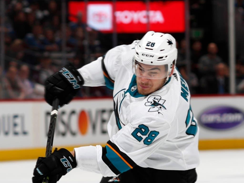 Timo Meier katapultierte sich mit seinen Top-Leistungen bei den San Jose Sharks in der NHL in eine neue Gehaltsliga (Bild: KEYSTONE/AP/DAVID ZALUBOWSKI)