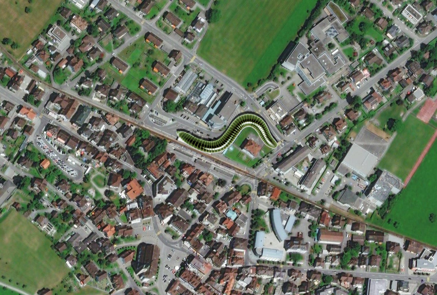 Lage der neuen Überbauung im Bahnhofsareal. Bei dieser Idee wäre Land des Kantons, der Post und der Zentralbahn betroffen. (Visualisierung: PD)