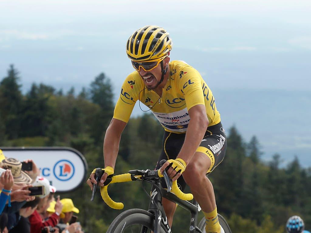 Julian Alaphilippe erobert sich in der 8. Etappe der Tour de France das gelbe Leadertrikot zurück, das er zwei Tage zuvor verloren hatte (Bild: KEYSTONE/AP/THIBAULT CAMUS)