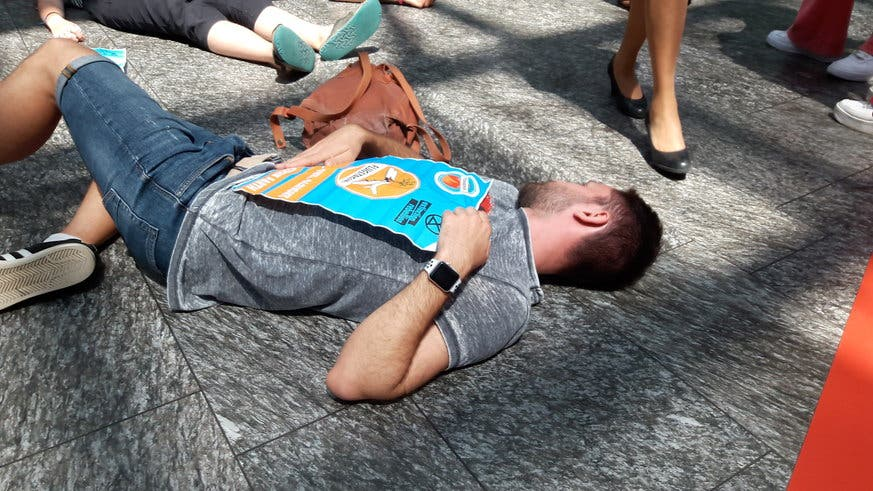Die Aktivisten lagen zuerst mehrere Minuten still am Boden und ... (Bild: flugstreik.earth)