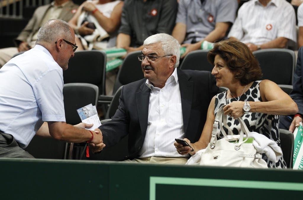 Immer in der Box mit von der Partie: Die Familie Federer, hier im Bild seine Eltern Robert und Lynette Federer. (Bild: Keystone)