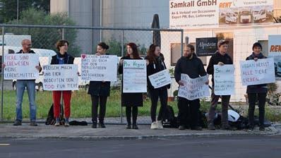Veganer demonstrieren vor dem Schlachthof in Gossau