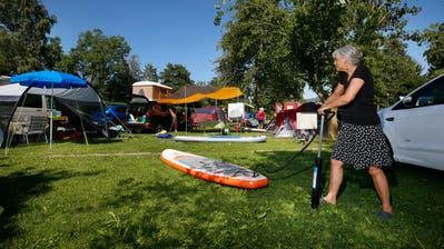 Auch der Camping Unterägeri verzeichnet einen starken Anstieg der Übernachtungen. (Bild: Stefan Kaiser, 16. Juli 2019)