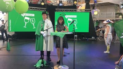 Regierungspräsidentin Heidi Hanselmann bei ihrer Rede an der «Fête des Vignerons». (Bild: Raphael Rohner)