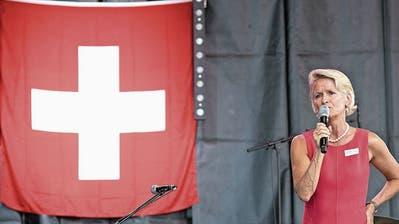 Andrea Gmür bei der letztjährigen Feier auf dem Europaplatz. (Bild: Pius Amrein, 31. Juli 2018)