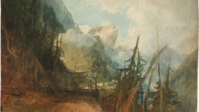 Eine Station auf William Turners erster Schweiz-Reise: «Die Gotthardstrasse zwischen Amsteg und Wassen, Blick ins Reusstal», ca. 1814/15, Gouache, Graphit und Aquarell auf Papier. (Bild: Tate, London, 2019)