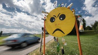 Klare Botschaft ohne Worte: EineHinweistafel gegen Litteringentlang derVerbindungsstrasse zwischen Oberkirch und Buttisholz.(Bild: Pius Amrein, 8. Juli 2019)