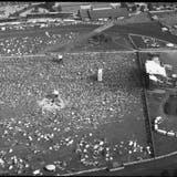 Die Bühne des ersten Open Airs in Frauenfeld im Jahr 1987, das zunächst «Out in the Green» hiess. (Bild: Stadtarchiv Frauenfeld)