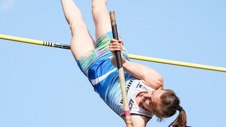 Nicole Büchlers Auftritt scheitert auf der Höhe von 4,36 Metern. Bild: Claudio Thoma/Freshfocus (Luzern, 9. Juli 2019)