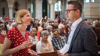 Henriette Engbersen im Gespräch mit dem Romanshorner Stadtpräsidenten Roger Martin. (Bild: Reto Martin)