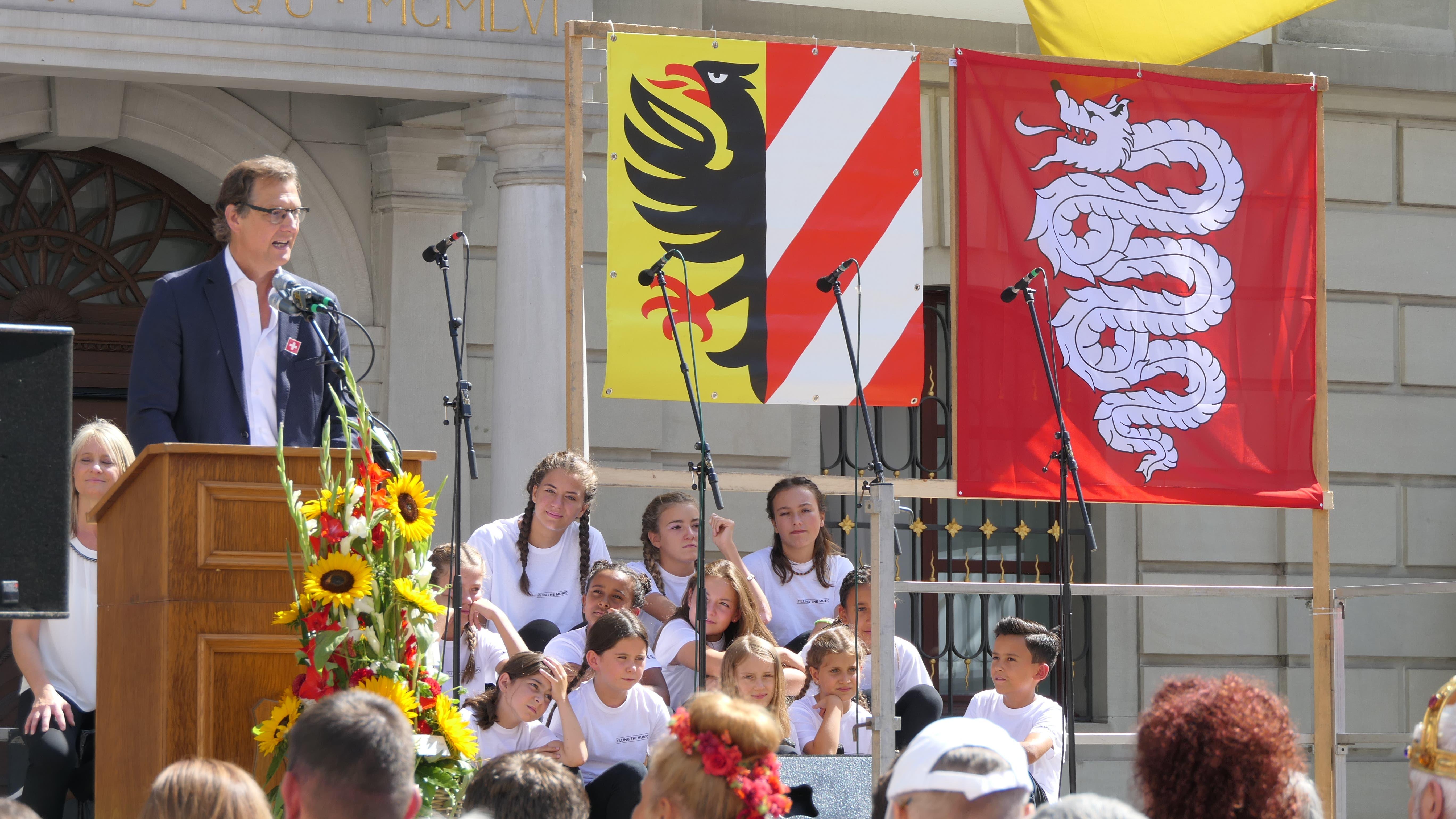 Bundesfeier in Altdorf: Mario Branda, Stadtpräsident von Bellinzona, bei seiner Ansprache. (Bild: Carmen Epp, Altdorf, 1. August 2019)
