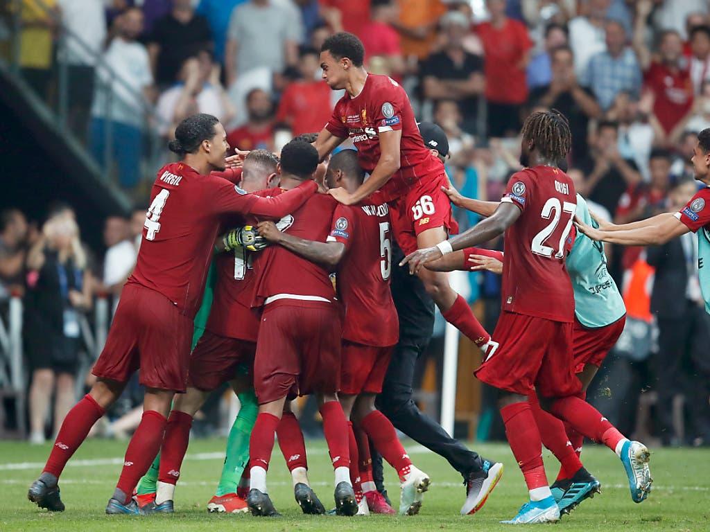 Der Jubel der Reds nach dem 5:4 gewonnenen Penaltyschiessen (Bild: KEYSTONE/AP/THANASSIS STAVRAKIS)