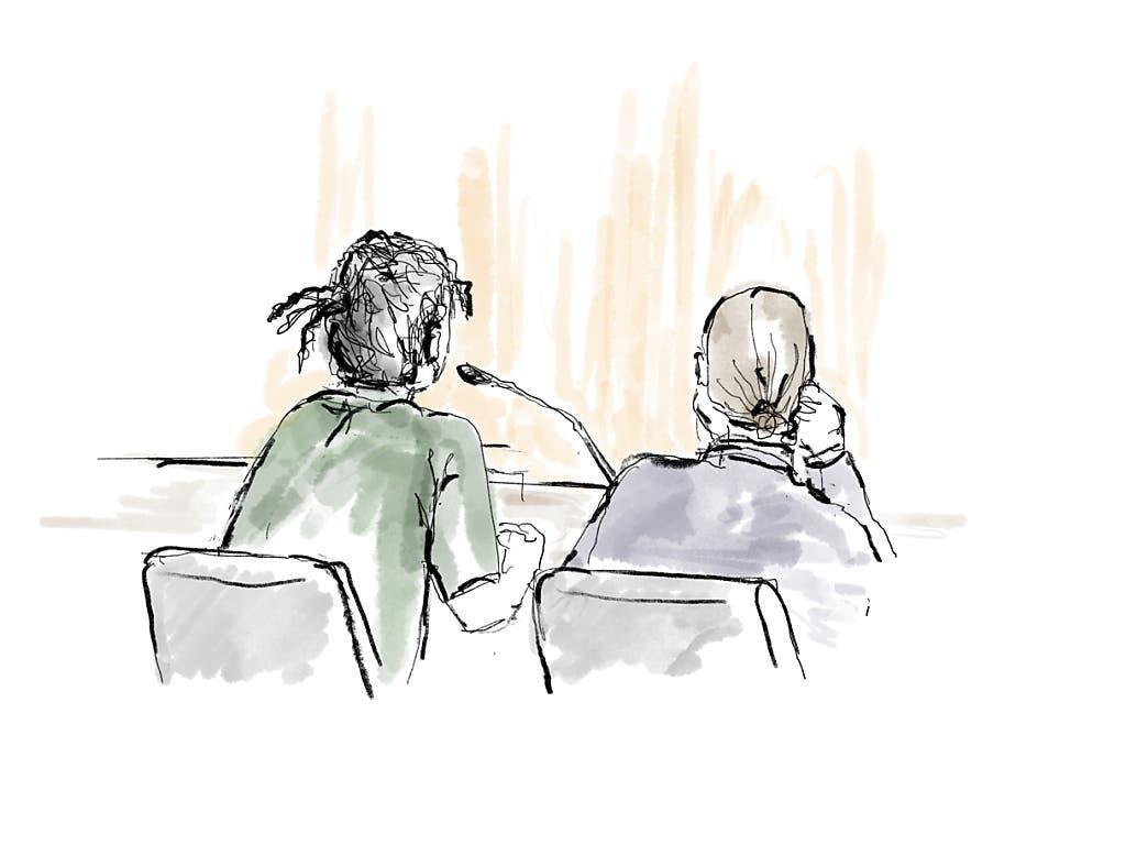 Gerichtszeichnung von Asap Rocky (links) und seinem Anwalt Slobodan Jovicic während der Gerichtsverhandlung in Stockholm. (Bild: KEYSTONE/EPA TT NEWS AGENCY/ANNA-LENA LINDQVIST/TT)