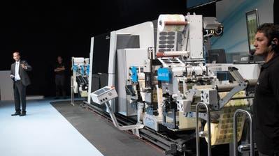 Eine Digitaldruckmaschine, die Gallus im Jahr 2014 als Weltneuheit präsentiert hat. (Bild: Ralph Ribi / St.Gallen, 22. September 2014)