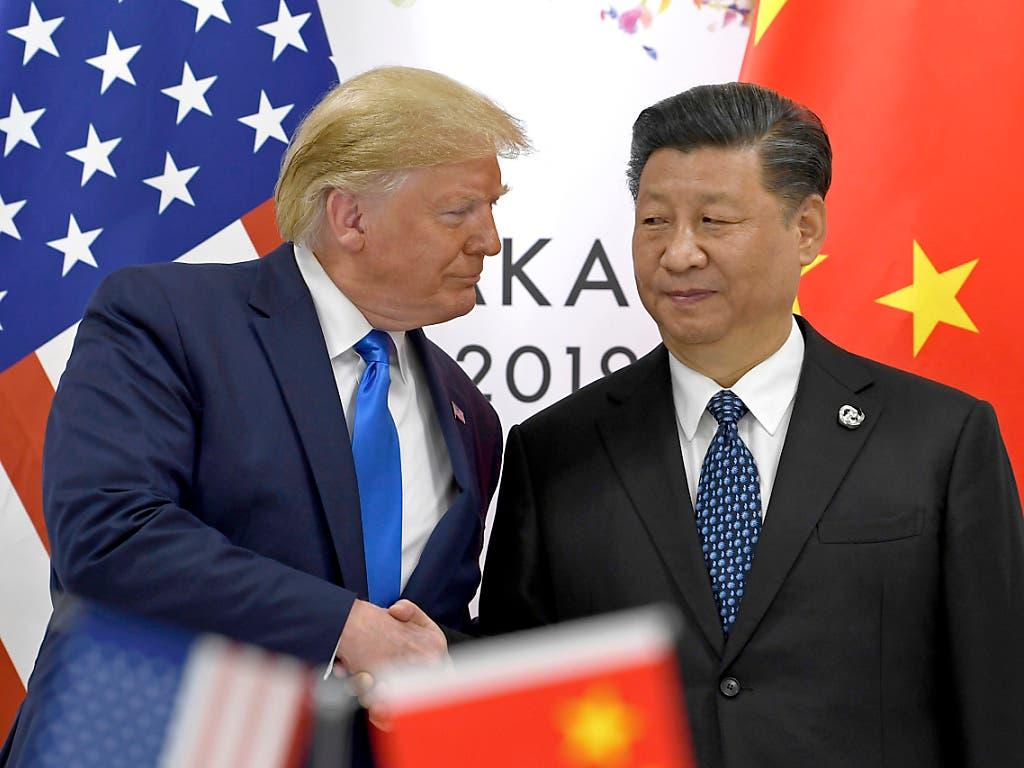 US-Präsident Donald Trump und der chinesische Präsident Xi Jinping beim letzten gemeinsamen Treffen in Japan Ende Juni. (Bild: KEYSTONE/AP/SUSAN WALSH)