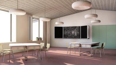 Die Visualisierungen zeigen ein modernes Schulhaus, das der wachsenden Zahl der Schulkinder genügend Platz bietet. (Bilder: PD)
