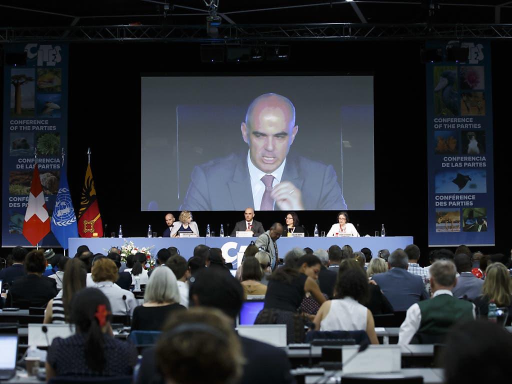 Bundesrat Alain Berset hat am Samstag in Genf die 18. Artenschutzkonferenz Cites eröffnet. (Bild: Keystone/SALVATORE DI NOLFI)