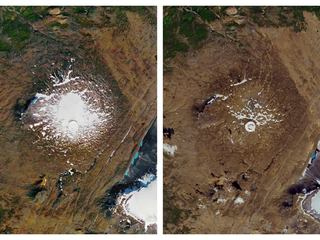 Im Jahr 1986 (links) noch ein stolzer Gletscher, nun ist er offiziell «tot» (rechts). Der Okjokull-Gletscher in Island. (Bild: KEYSTONE/AP NASA)