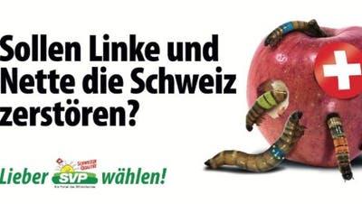 Das aktuelle Plakat zeigt die politischen Gegner, die Parteien und die EU, als Gewürm. Diesmal auch für SVPler zu viel des Guten. (Foto: SVP)