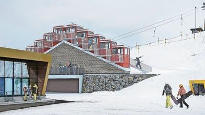 Ein Berghotel im wahrsten Sinn: die Kabinen der Stoosbahn als Berg angeordnet. (Visualisierung: BSS Architekten)