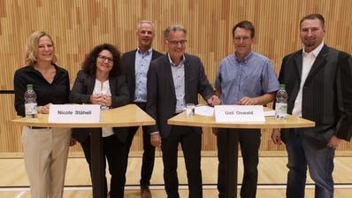 Christina Pagnoncini, Nicole Stäheli, André Ess, Moderator Ueli Oswald, Christoph Forster und Christoph Zürcher. (Bild: Martina Eggenberger)