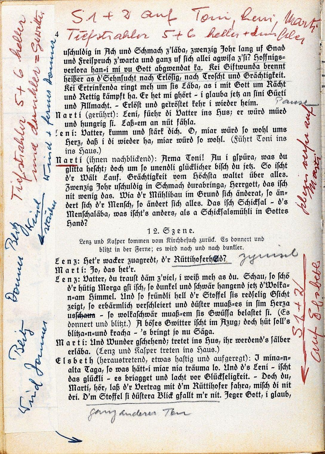 Notizen von Hans Segenreich auf einer Seite im Textbuch «Die Schicksalsmühle».