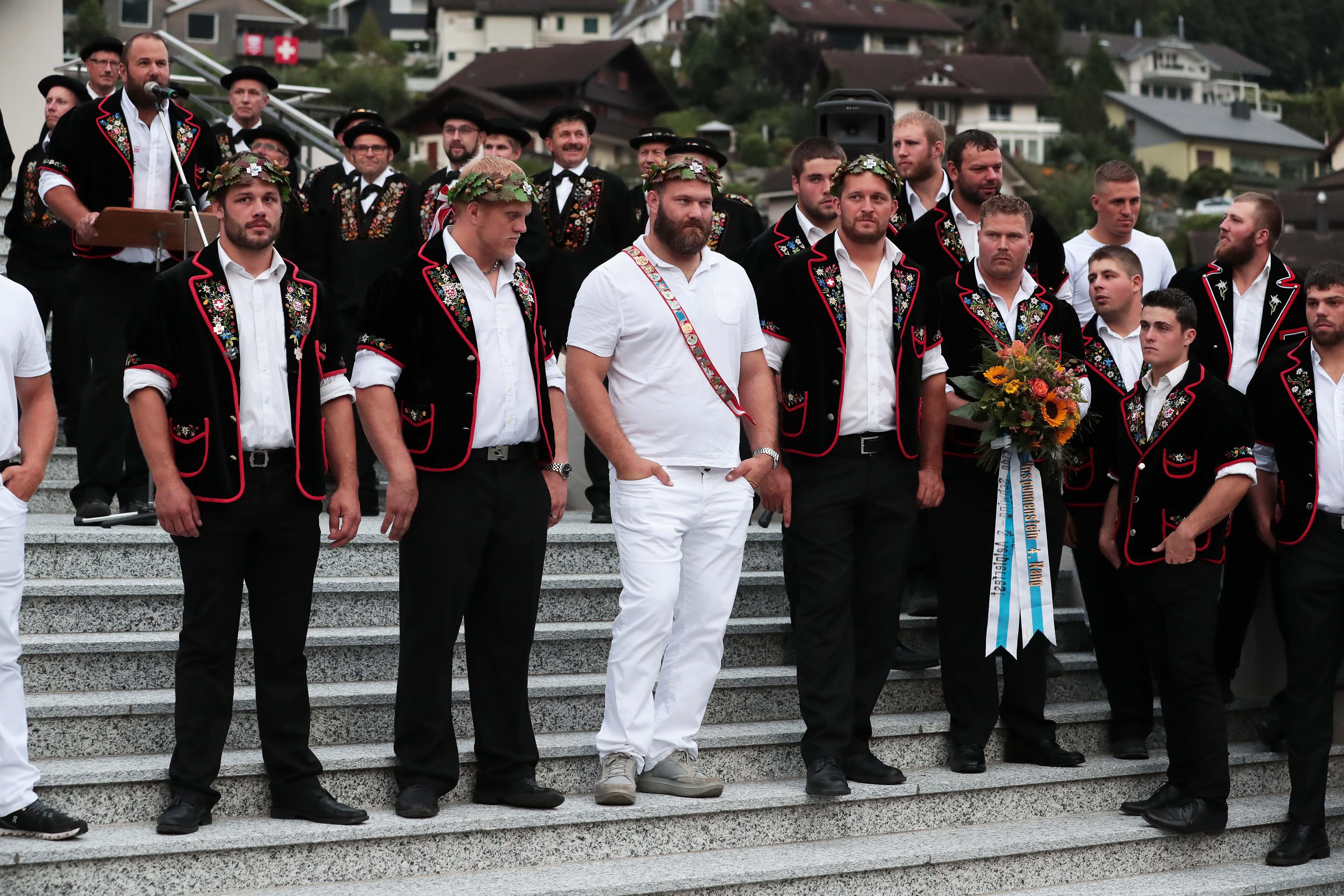 Martin Zimmermann (links), Lutz Scheuber, Benji Von Ah und Marcel Mathis (Bild: Roger Zbinden, Oberdorf, 27. August 2019)