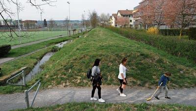 Im ehemaligen Bahndamm Schleife sollen Leitungen verlegt werden. (Bild: Stefan Kaiser, Zug, 2. April 2019)