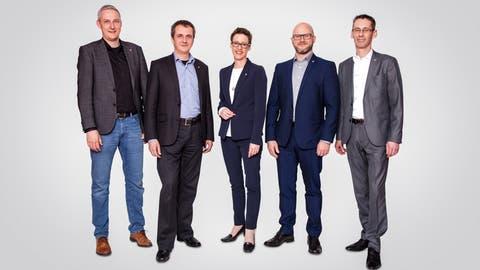 Der aktuelle Gemeinderat Ebikon (v.l.): Hans Peter Bienz (parteilos), Daniel Gasser (CVP, Gemeindepräsident), Susanne Troesch-Portmann (CVP), Andreas Michel (parteilos), Ruedi Mazenauer (FDP).