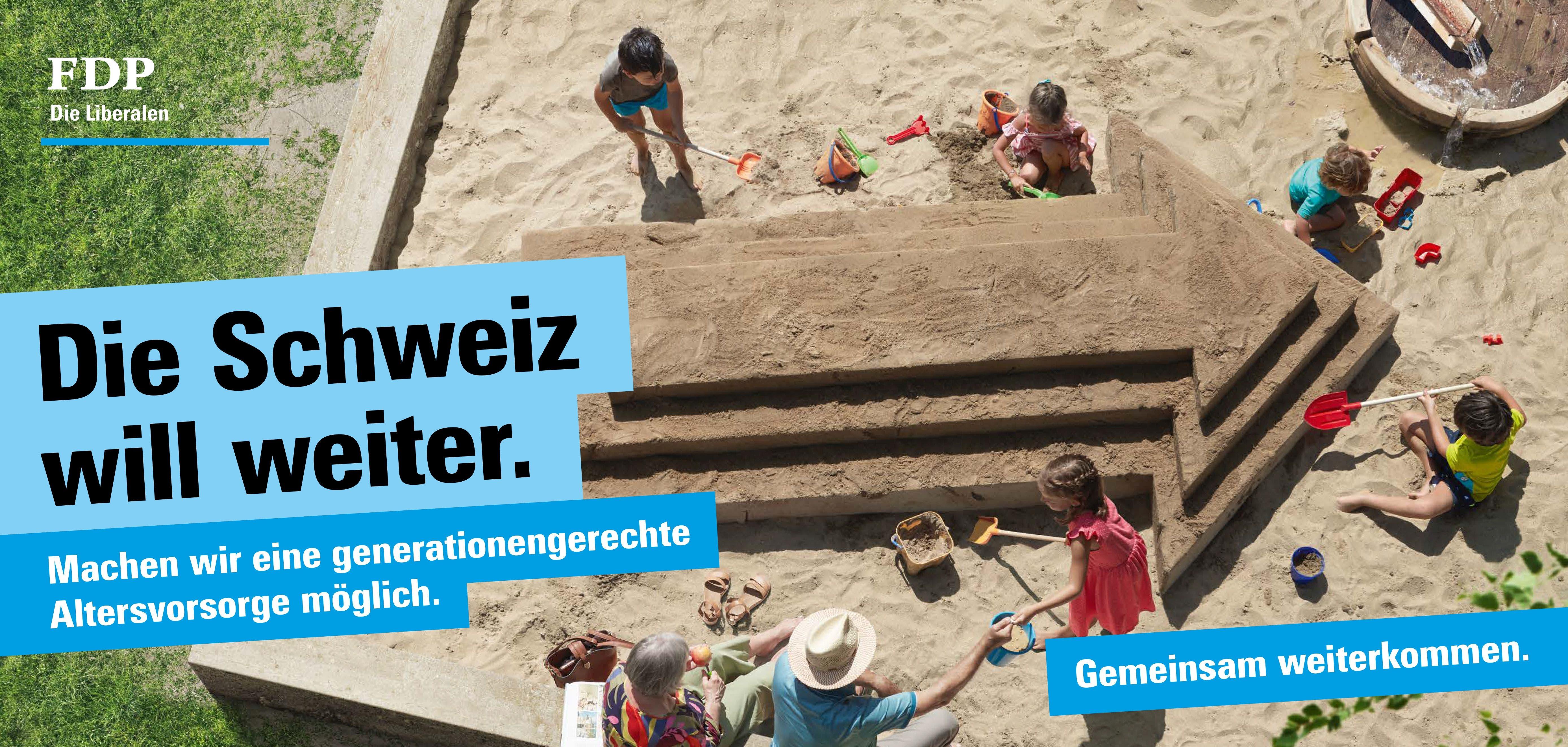 Die FDP will eine generationengerechte Altersvorsorge und thematisiert dies auf den Plakaten. (Bild: FDP)
