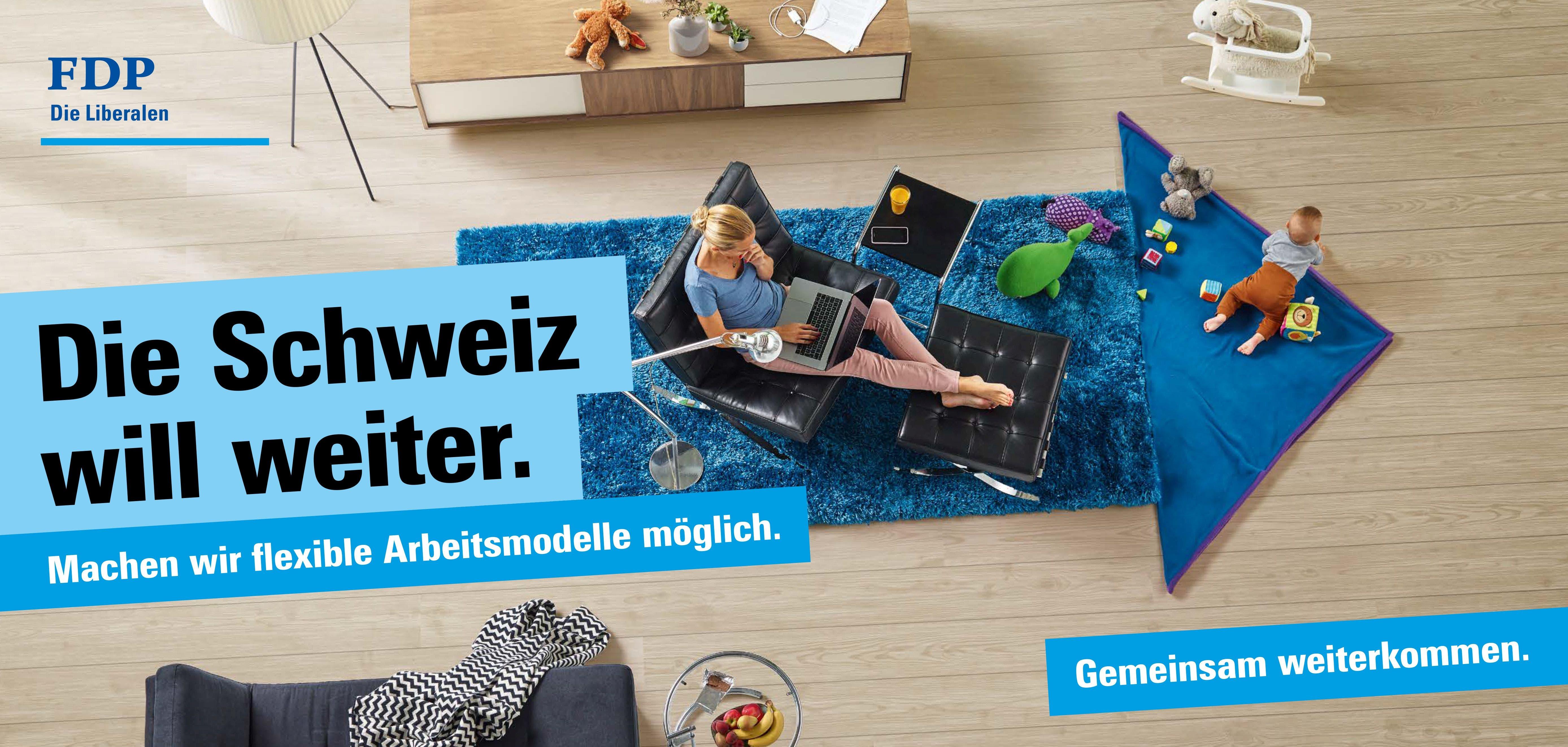 Die FDP thematisiert in ihrer Plakatkampagne flexible Arbeitsmodelle für eine bessere Vereinbarkeit von Beruf und Familie. (Bild: FDP)